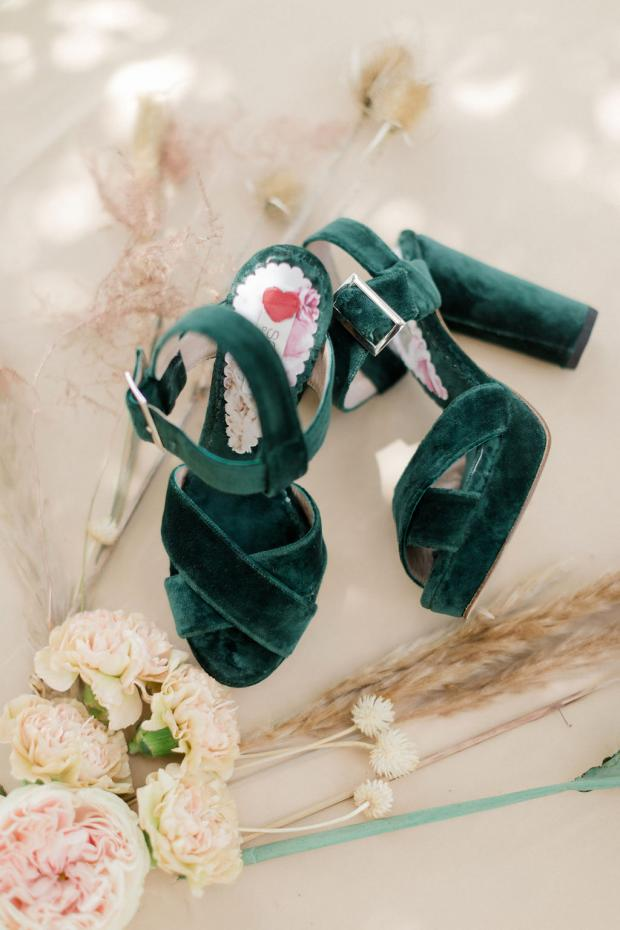 Green velvet wedding shoes