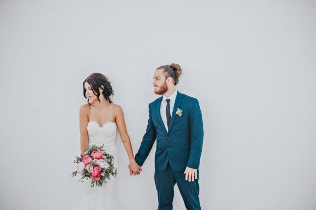 Peony wedding in Santorini