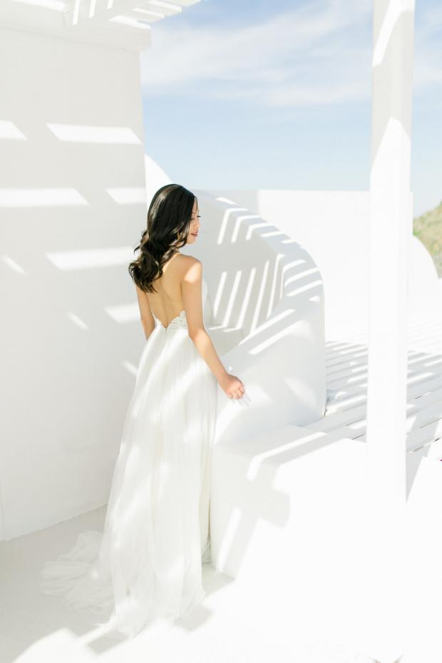 BHLDN dress- Santorini wedding