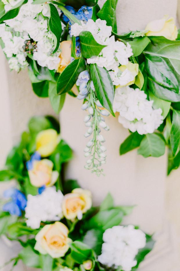 Blue and yellow wedding flowers