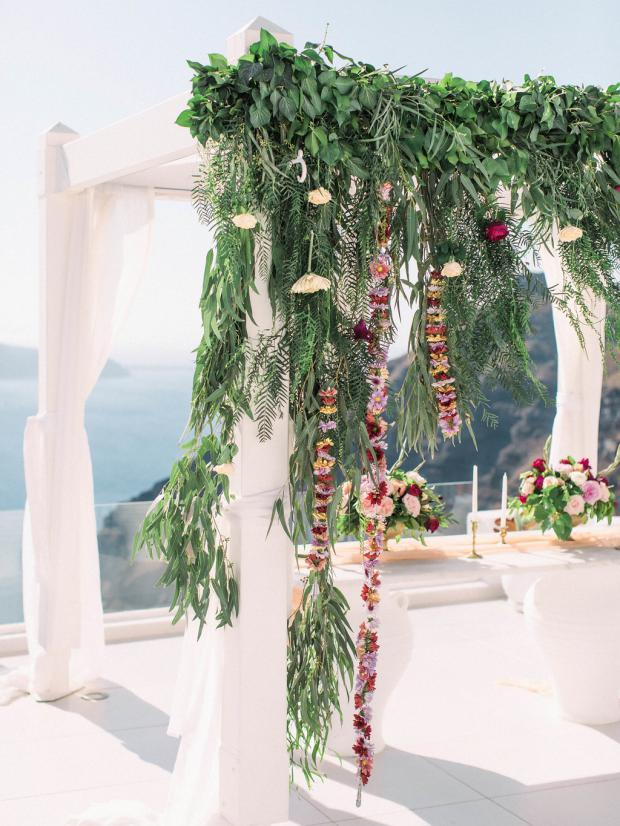 Hanging flowers wedding arch