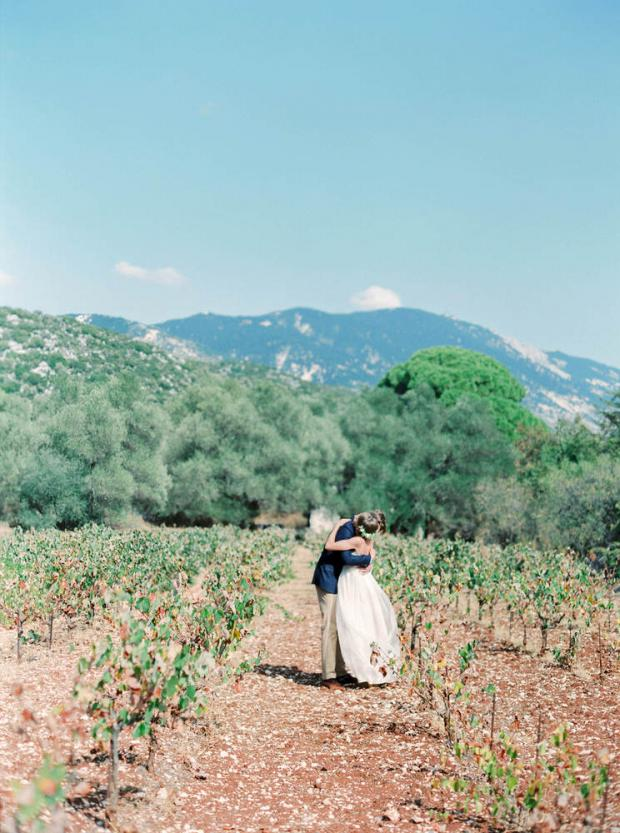 First look- Greece Winery wedding