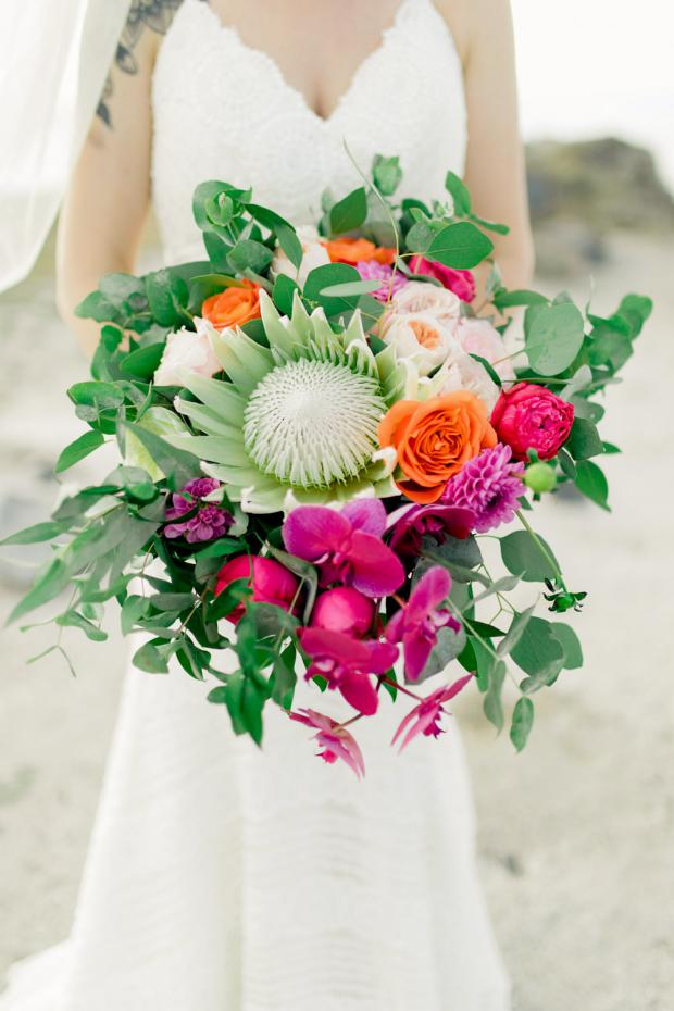 King protea and orchids bouquet