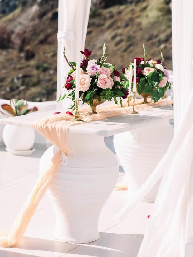 peach , pink and burgundy wedding