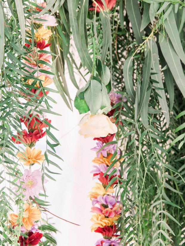 Hanging flowers wedding arch