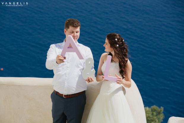 Wedding in Santorini-wooden letters
