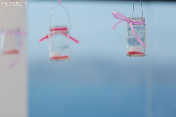 Santorini Wedding- hanging jars with candles