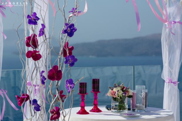 Santorini wedding-purple and pink palette