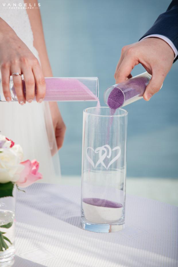 Santorini wedding-sand unity
