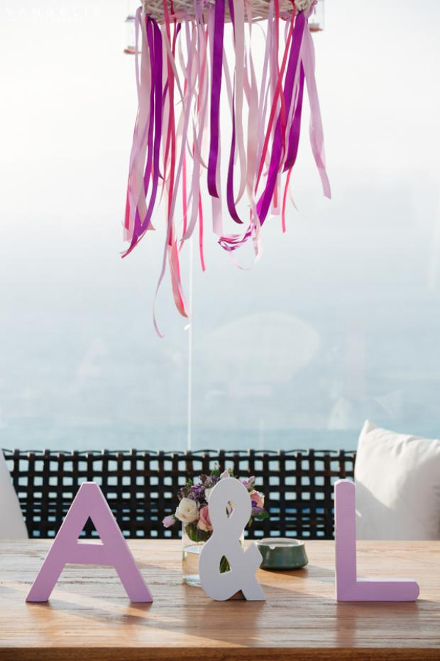 Santorini Wedding- ribbon chandelier & wooden letters