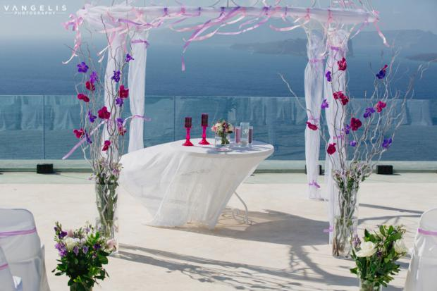 Santorini wedding-Radiant orchid