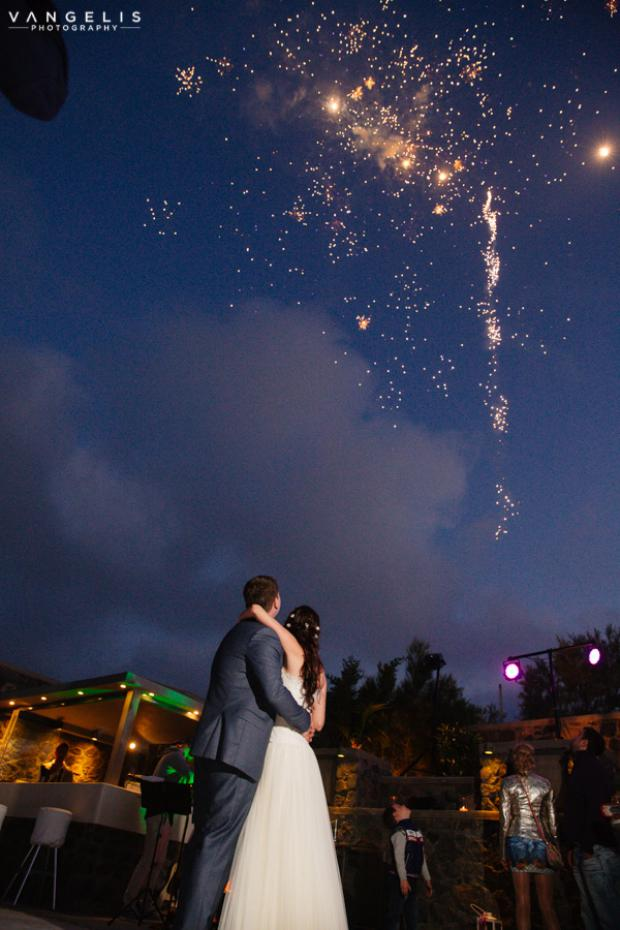 Wedding in Santorini-fireworks