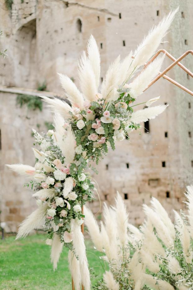 Pampas copper wedding arch