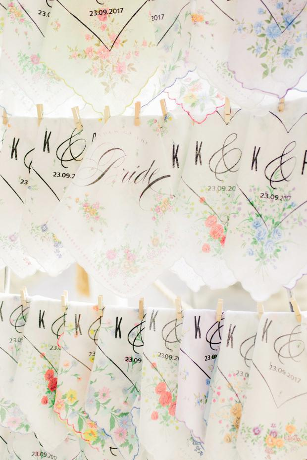 Personalised Wedding handkerchief stand