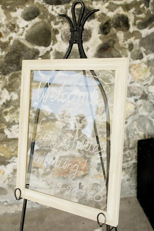 Glass Welcome sign