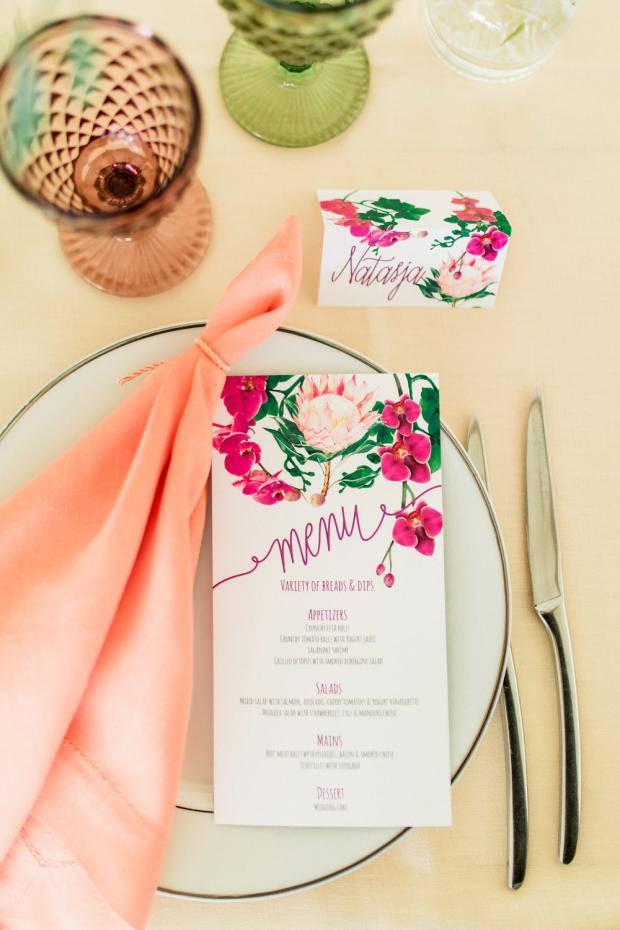Wedding Stationery - King protea menu