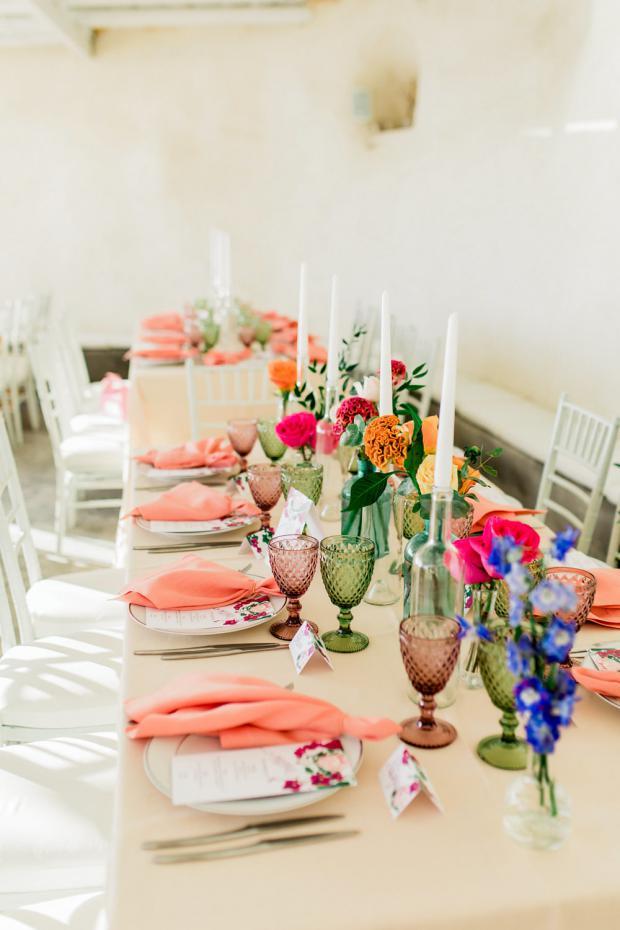 Colourful wedding reception