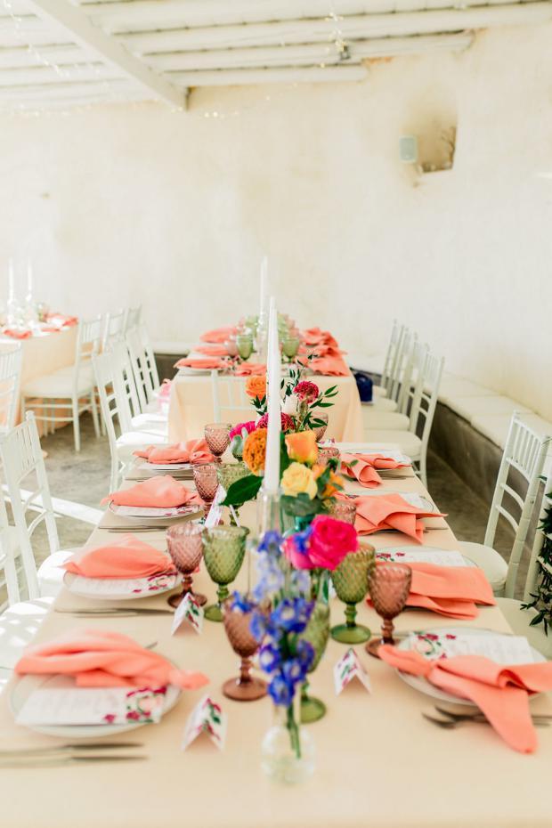 Colourful  wedding table setting