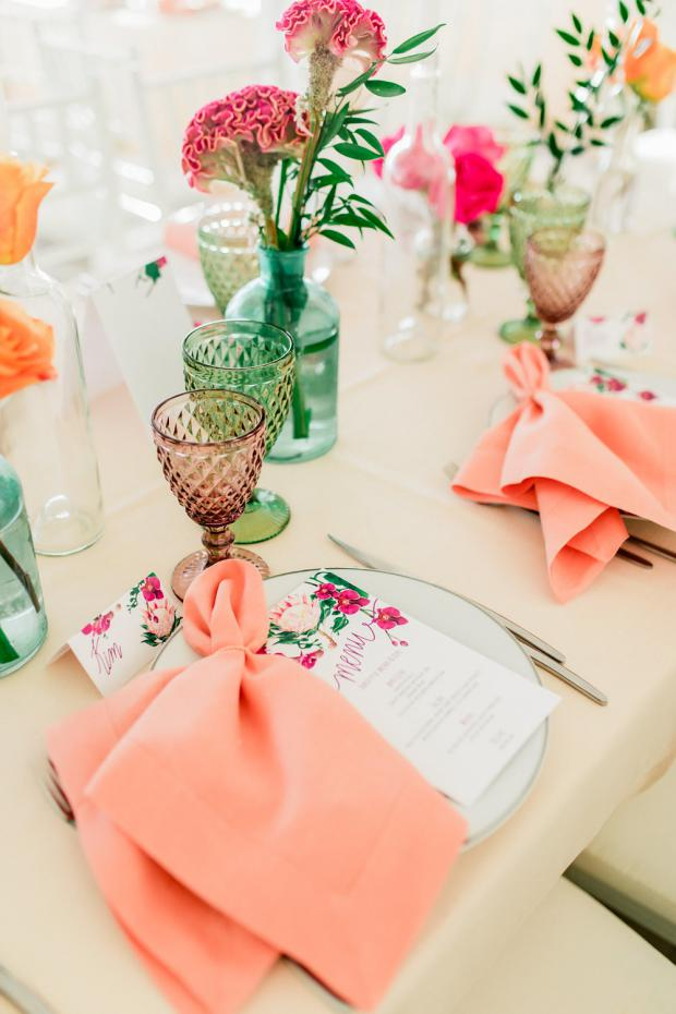 Tablescape -peach napkin