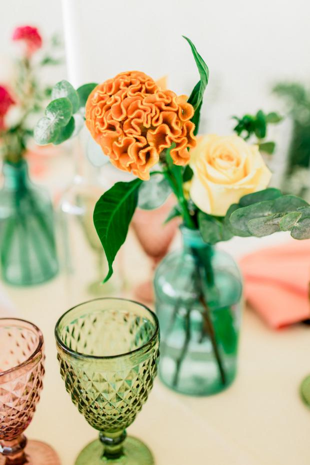 Colourful centrepiece and goblets