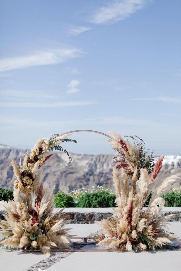 pampas and dried flowers round arch