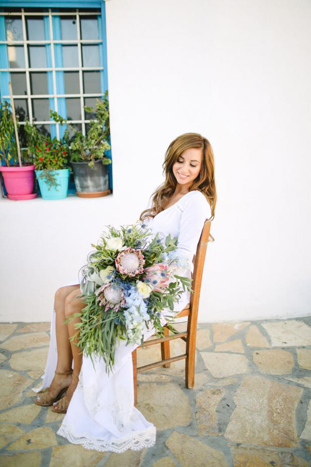 Destination wedding in Greece-Bouquet with proteas