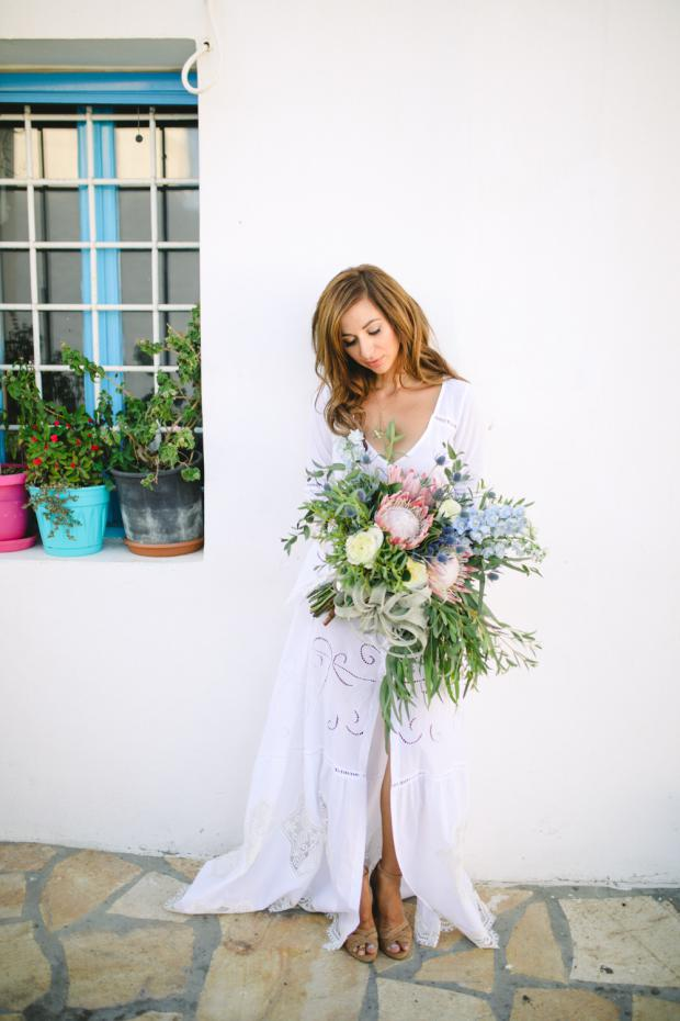 Destination wedding in Greece-Bouquet with king  proteas