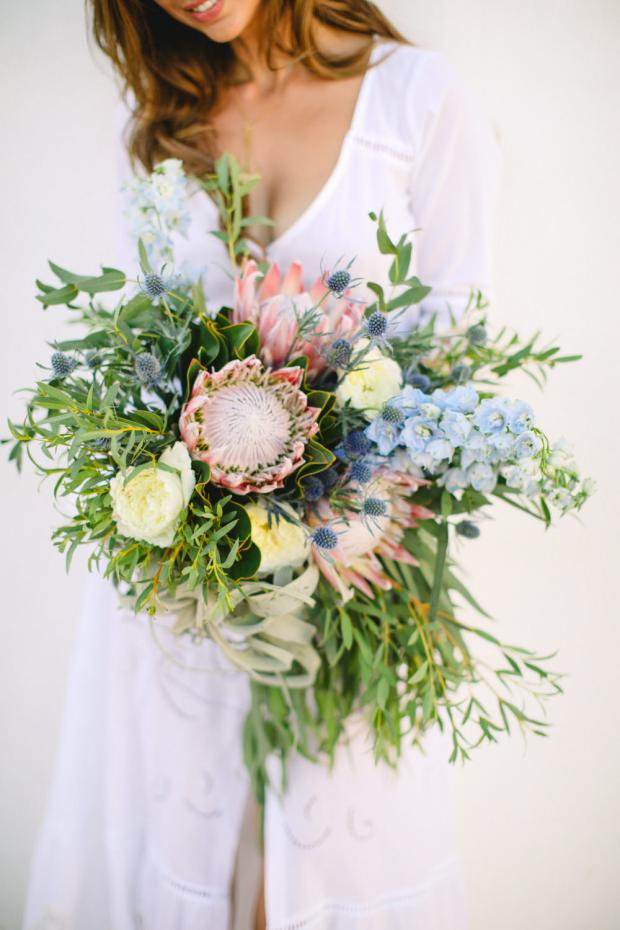 Bridal bouquet with King proteas and air plants