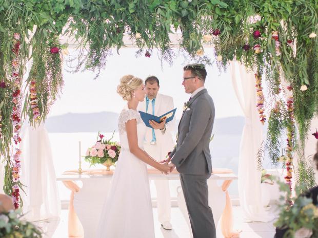 Wedding ceremony in Santorini
