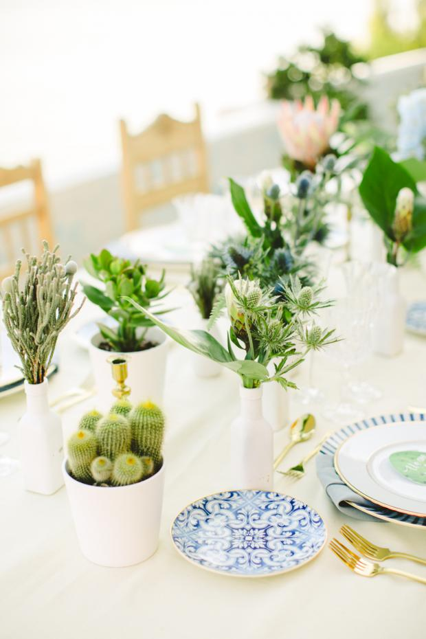 Greenery tablescape with blue  tableware