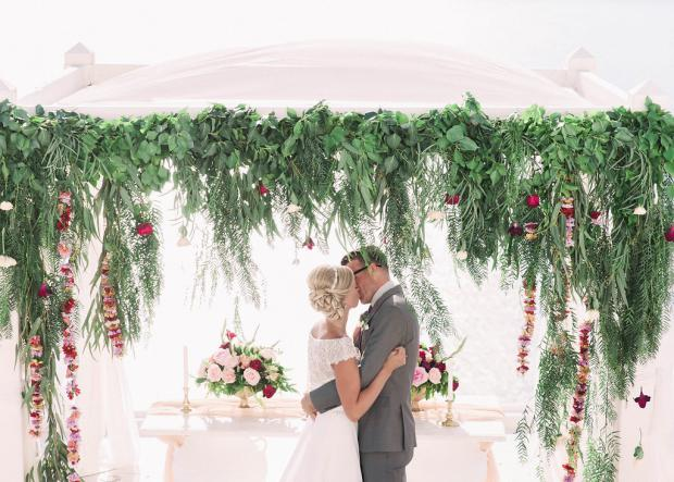 Whimsical greenery wedding in Greece