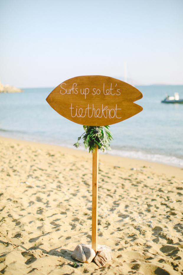 Beach wedding sign - Surf wedding in Greece