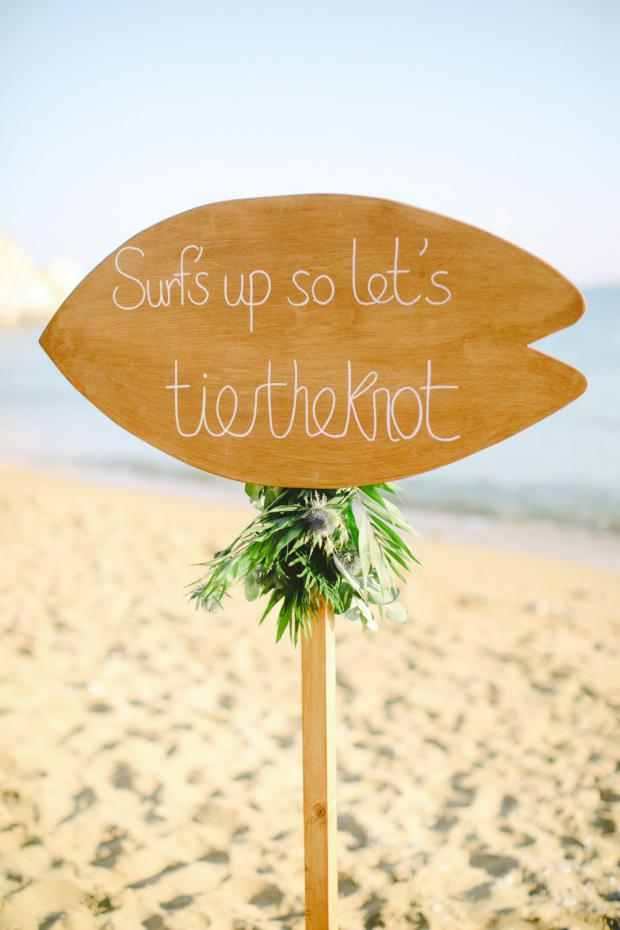 Beach wedding sign - Surf wedding in Greece