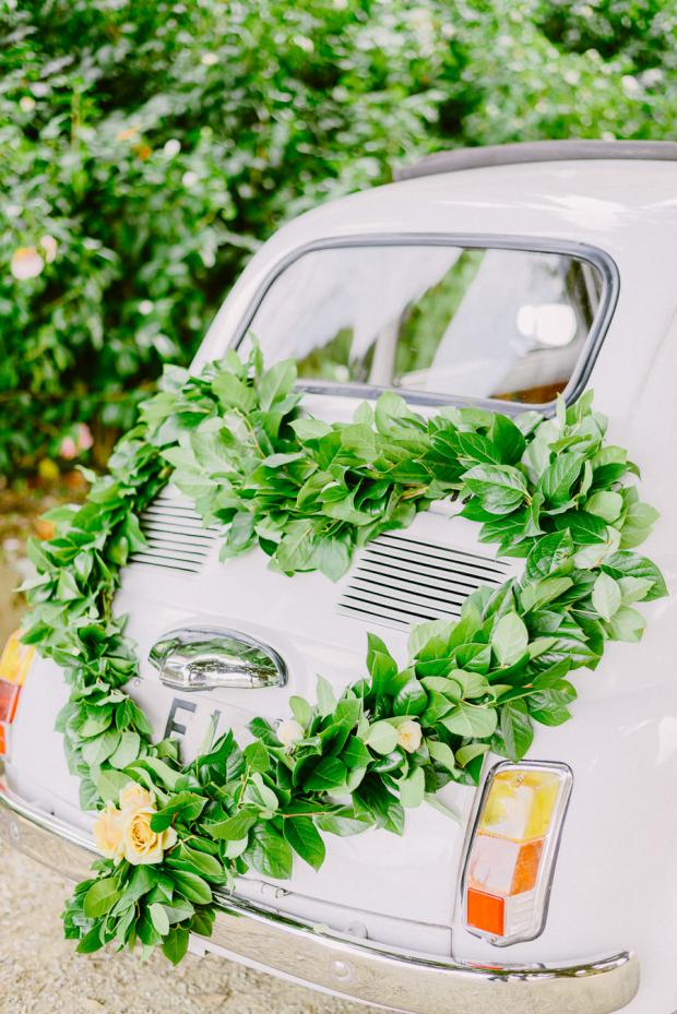 Bridal car decoration - Wedding in Tuscany