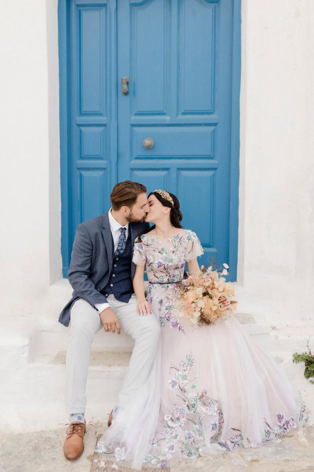 Wedding in the Greek islands and a bride with a floral sequin dress