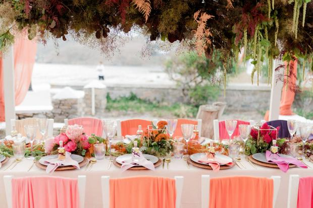 Colourful ombre wedding reception