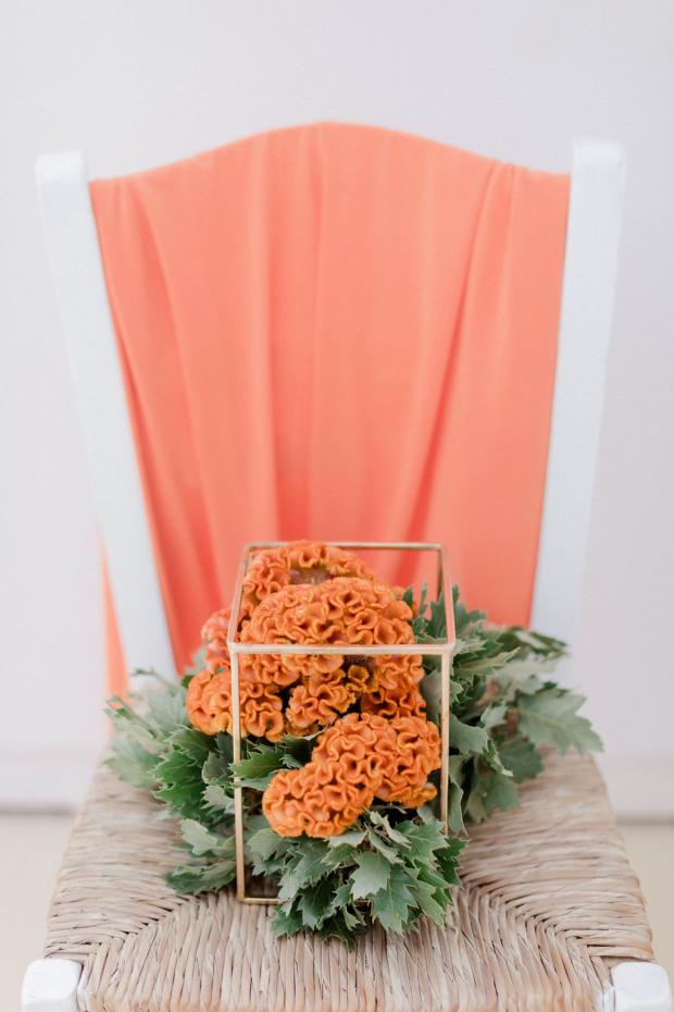Colourful wedding centerpiece