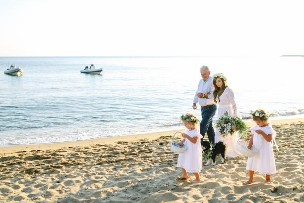 Bohemian beach wedding in Greece- walking the aisle