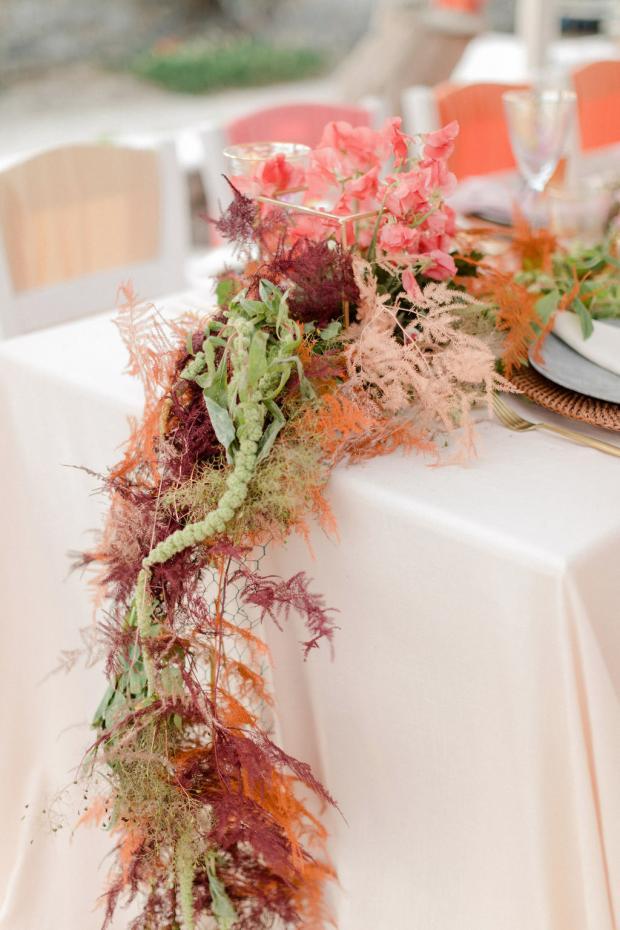 Colourful ombre wedding reception