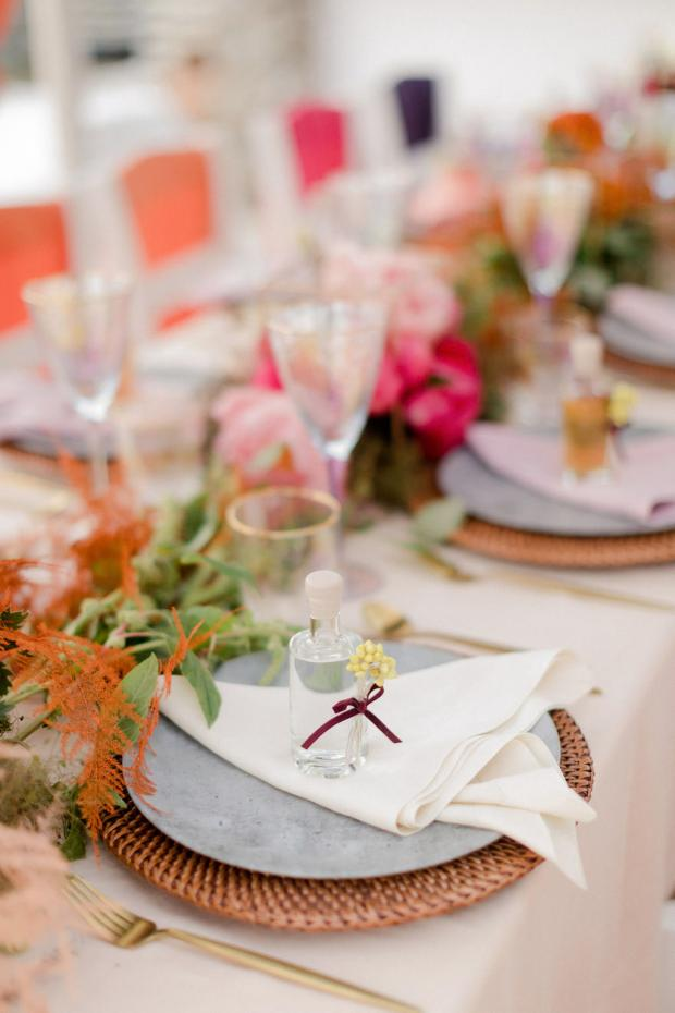 colourful wedding tablescape - favour