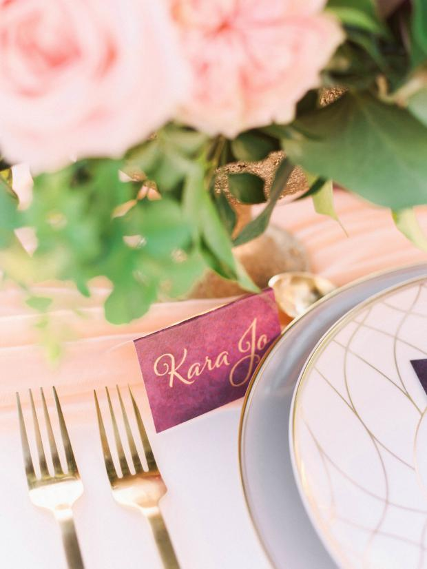 Burgundy calligraphy place cards
