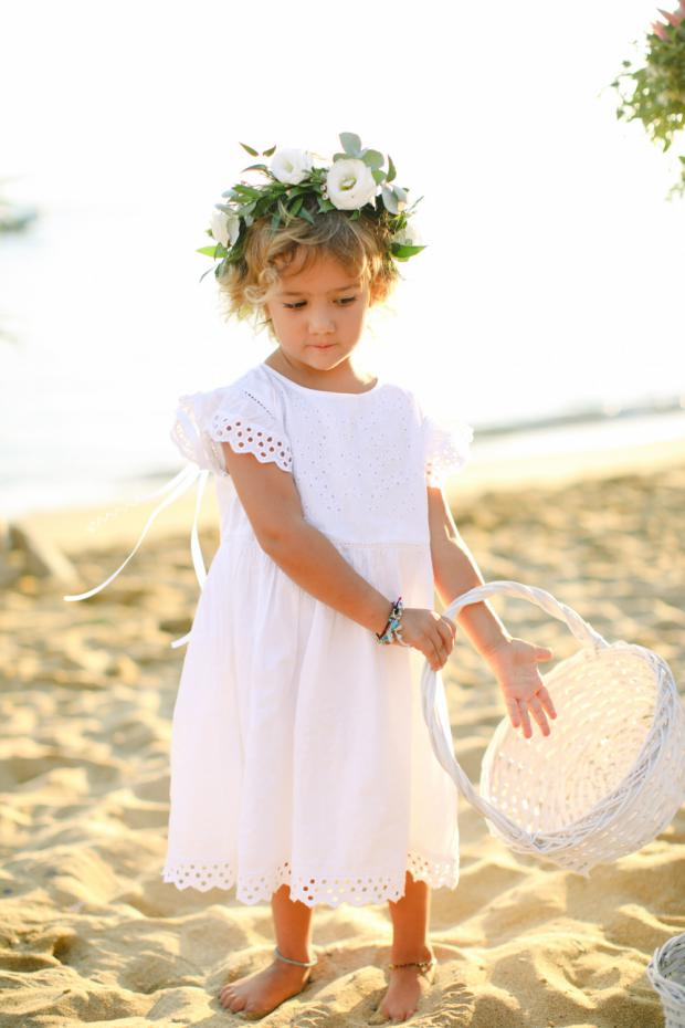 Flower girl with flower crown- Beach wedding