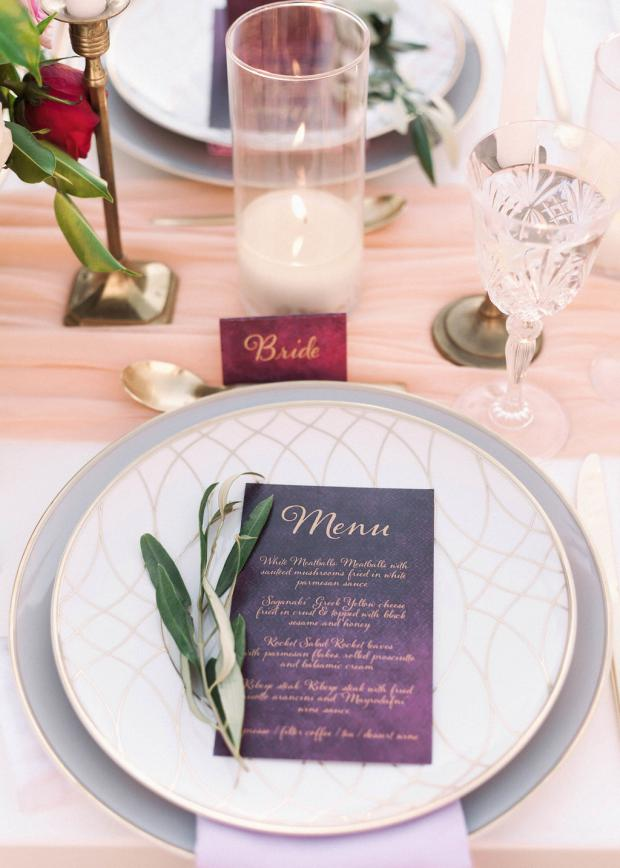 burgundy and gold menu-stationery