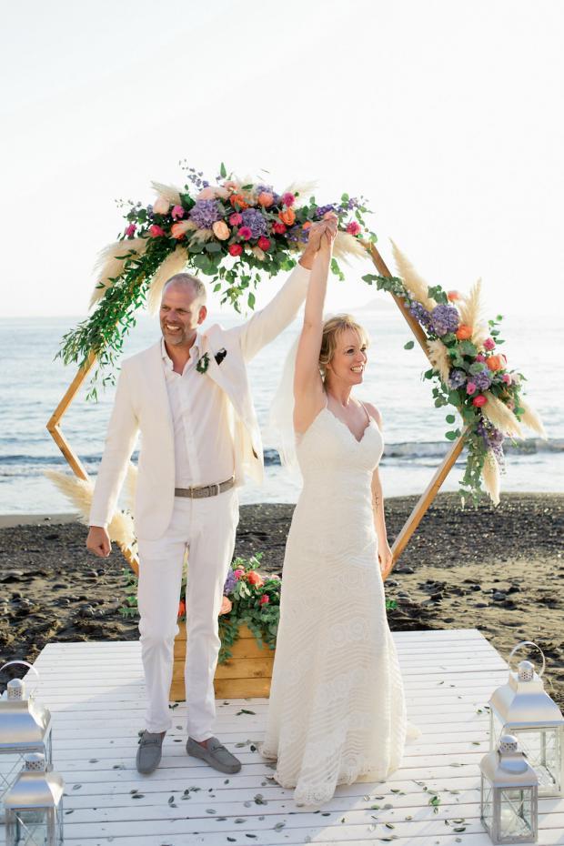Beach wedding in Greece- Hexagonal arch
