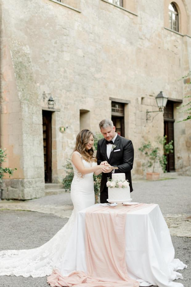 grey and blush wedding cake