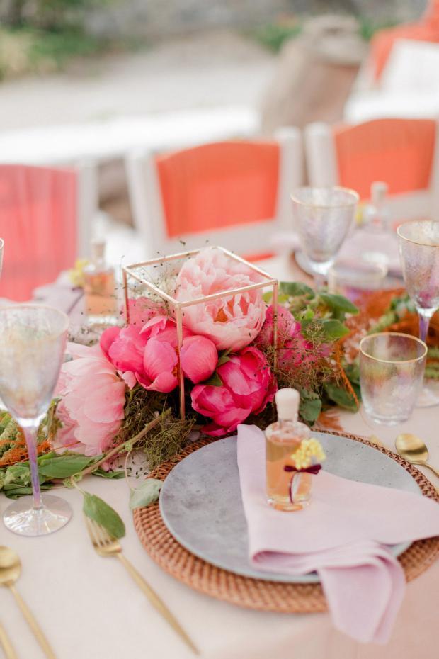colourful wedding tablescape - favour