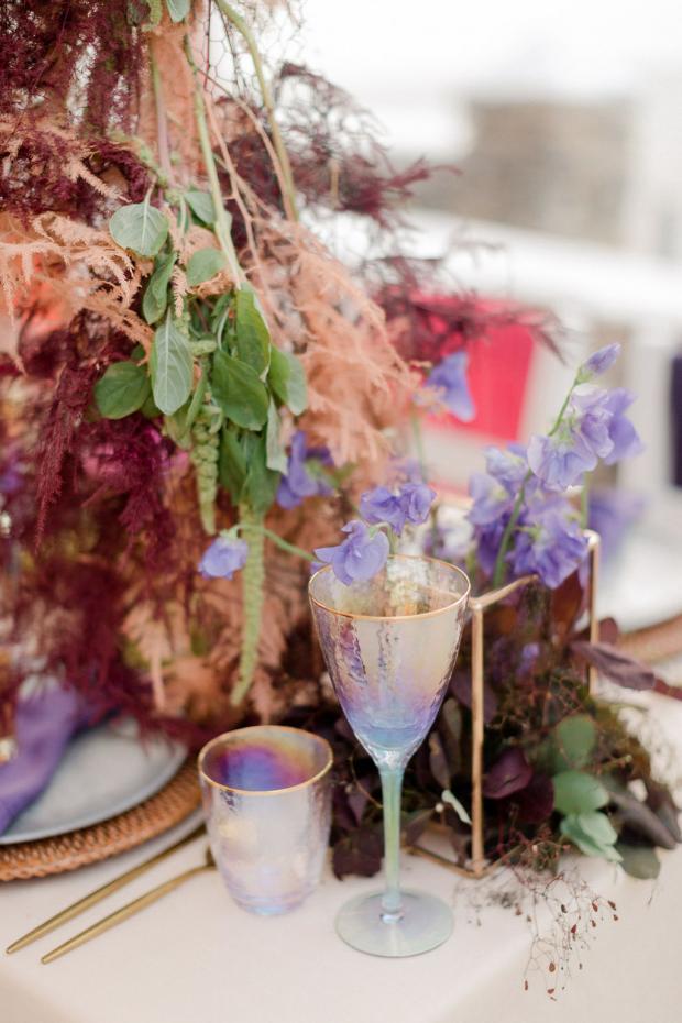 colourful wedding tablescape - glasses