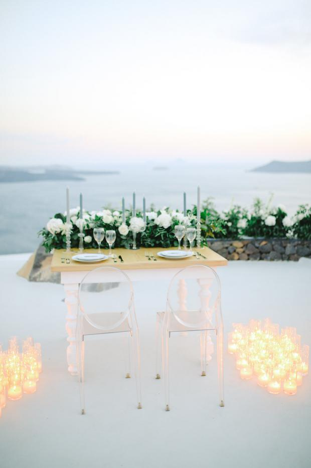 Candle lit dinner- Santorini wedding