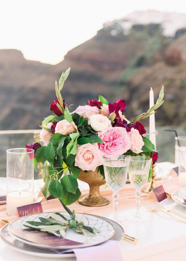 pink and burgundy centrepiece