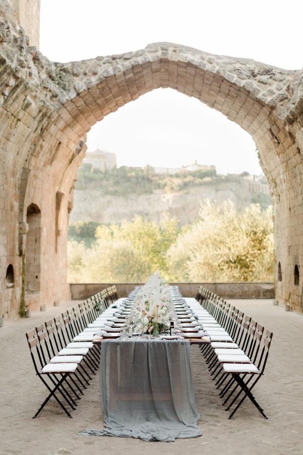 Modern wedding at an Italian Abbey